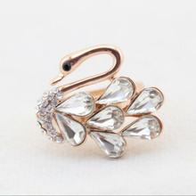 New Design Fashion Women's Jewelry 925 Silver White Crystal Swan Ring  t0322