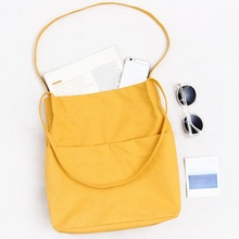 Women Simple Eco Canvas Handbag Girls Single Shopping Shoulder Bag Female Wild Casual Tote Shopper Bag Big Pocket Beach Bag(China)