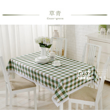 Simple plaid cotton lace table cloth coffee table cover custom retangle square tablecloth