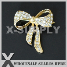 31x35mm Gold Bow Metal Rhinestone Brooch with Safety Pin Backing,Used for Party Evening Wedding Dress,Decorations