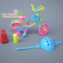 New 4Pcs/lot Doll Accessories For Barbie Dolls / mini kelly doll bike Play House Toys for Girls Baby