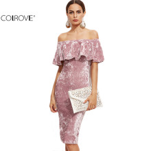 COLROVIE Women Pink Off Shoulder Ruffle Velvet Sexy Dresses Party Night Club Dress Winter Dresses Bodycon Sheath Elegant Dress(China)