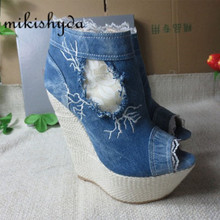 Discount Sexy High Heels Denim Peep-Toe Slop Heels Waterproof Ankle Boots Thick Sole Botines Plataforma Mujer Cowboy Wedges Blue