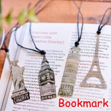 (96 Pieces/Lot) Novelty Gift Vintage Eiffel Tower Ben Liberty PISA Design Silver Metal Bookmarks For Books UP-8568