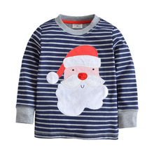 2017 New design Boys T-shirt Blue striped Santa Claus Baby Boy brand t shirts for boys Long Sleeve 100% Cotton child T-shirts