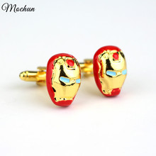 MQCHUN Marvel Comics Iron Man Cufflink For Mens Brand Cuff Buttons Cuff Links High Quality Abotoaduras Jewelry(China)
