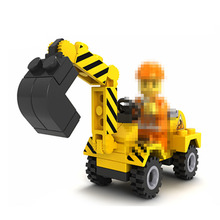 simulation Construction vehicles city bulldozer Excavator Compactor Building Car Bricks Blocks model toy truck gift for boy kids
