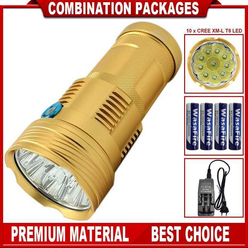 18650 Torch Flashlight X900 10x Xml-t6 10000 Lumens Led Flashlights Lanterna with 4*18650 Battery Tent Light for Fishing<br>