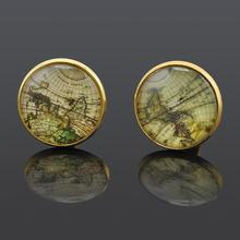 Fashion Shirt Wedding Cuff Links For Mens Silver Gold Retro World Map Cuff Buttons Jewelry