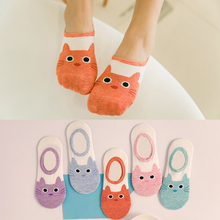 cute harajuku print cat socks women boat socks summer autumn korean animal funny cute low cut ankle sock happy sock sokken(China)