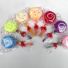Wholesale High Quality Baby Shower Gift Dessert Wrap Fashion Lollipop Candy Towel Washcloth Wedding Favor Random Color(China)