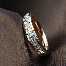 Geometric Design Women Fashion Wedding Ring Rose Gold Ring Titanium Steel Rings For Women Summer Engagement Jewelry R044