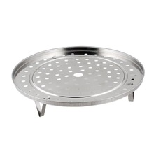 25.5 cm Hot Silver Tone Metal Steaming Rack Tray w Stand For Cooker Cooking Accessories