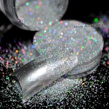 5g/Box Laser Silver Rainbow Powder Acrylic UV Nail Art Glitter Dust Eye shadow Makeup Nail Salon Manicure Decoration N32