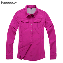 Facecozy 2017 Women Outdoor Hiking & Camping Quick Dry Jackt Fishing&Hunting Clothes Breathable Thin Shirt Pluse Size 3XL