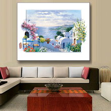 1 Pcs New Landscape Seaside Painting Printed on Canvas Country style Blue Sky and Flowers 3D Painting Windows Decor