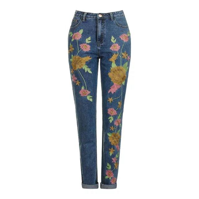 European Style Floral Embroidery Jeans Women Casual Cotton Blue Denim Trousers Pencil Pants High Waist Long Zipper Jeans FemmeОдежда и ак�е��уары<br><br><br>Aliexpress
