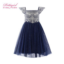 Pettigirl 2017 New Summer Navy Pink Tulle Girls Dress With Exquisite Embroidery Lace Top Grace Classic Kids Dress Children Wear