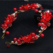 MHS.SUN Red Color bridal hairband crystal tiaras wedding hair accessories pearls flower crowns headbands gold color TN1027(China)