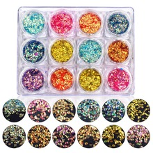 12Pcs/Set Mix 3D Colorful Nail Sequins Fish Scales Mermaid Glitter Tips Nail Art Decoration Shining Manicure Accessories #248197(China)