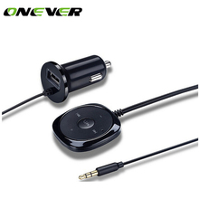 Onever Bluetooth 4.0 Wireless Music Receiver 3.5mm Adapter Handsfree Car Kit AUX Speaker 3.5 mm Jack for Car Speaker Car Charger(China)