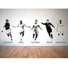 NEW FOOTBALLERS BALE AGUERO MESSI RONALDO SANCHEZ WALL STICKER VINYL DECAL TRANSFER(China)
