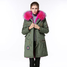 Mr&mrs Raccoon Fur Long style Rose Coats Down Jacket Blazer Women flag Jacket Wome Winter Coat Winter Hot Pink Jacket Women(China)