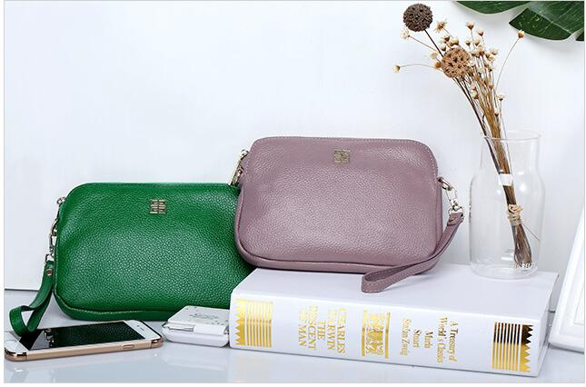 First layer ladies cowhide mini-package genuine leather womens chain handbag zipper mobile phone bag <br><br>Aliexpress