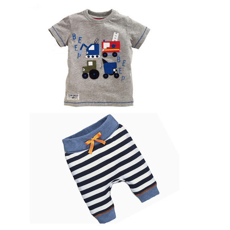 Retail 2016 Summer infant clothes baby girl clothing sets Cotton Baby Boy Cartoon Cars Letters Print T-Shirts + Striped Pants(China)