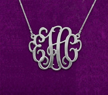 "1.25"" Sterling silver monogram necklace,Custom monogrammed jewelry,Personalized Monogram Necklace,925 Sterling Silver Necklaces(China)"