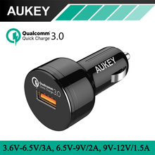AUKEY Car Charger with Quick Charge 3.0 for Samsung iPhone 7 Plus/5/6/6s Galaxy S7/Edge HTC 10, LG G5 Xiaomi LG Huawei and More(China)