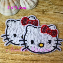 Iron-on Sequins Patches for Clothes Cute Cartoon Hello Kitty Deal with it Clothing DIY Motif Applique Popular Bow Cat 16LP018