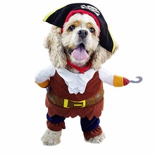 Funny Dog Clothes For Pet Dog Costume Clothes Pirate Suit Corsair Dressing up Clothes For Dogs Plus Hat Party Apparel 35(China)
