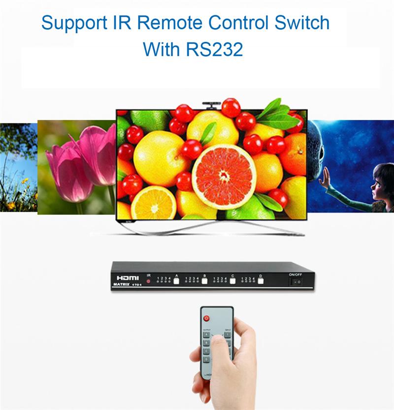 EMK 4x4 HDMI True Matrix 4 input 4 output HDMI Switch Splitter 1.3b support 1920x1080 60Hz with RS232 Remote Control Switch (10)