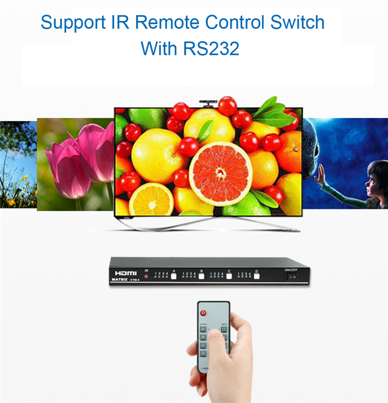 EMK 4x4 HDMI True Matrix 4 input 4 output HDMI Switch Splitter 1.3b support 1920x1080 60Hz with RS232 Remote Control Switch (10)
