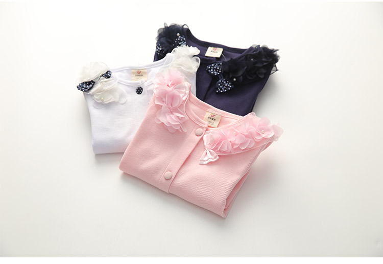 2018 Spring and Autumn Bow Decoration Baby Child Girl Lace Patchwork Pure White and Blue Long-Sleeve Cardigan Top Outerwear (15)