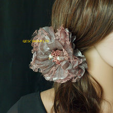 15cm lace silk flower for sinamay fascinator hat,hair accessory.brooch pin hair clip(China)