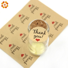 120PCS Thank You Kraft/White Paper Gift Tags Stickers Wedding Favors Party Accessories Christmas DIY Biscuit Gifts Decoration(China)