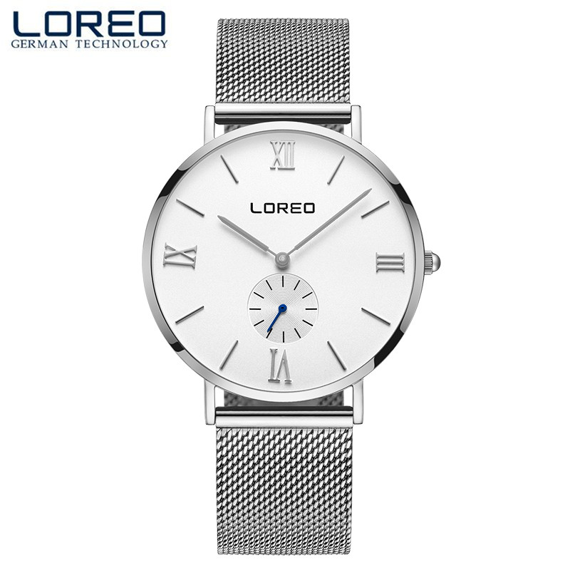 LOREO Crystal Watch Men Women Silver Stainless Steel Waterproof Blue Dial Watch Relogio Masculine Shock Resistant Watches M18<br>