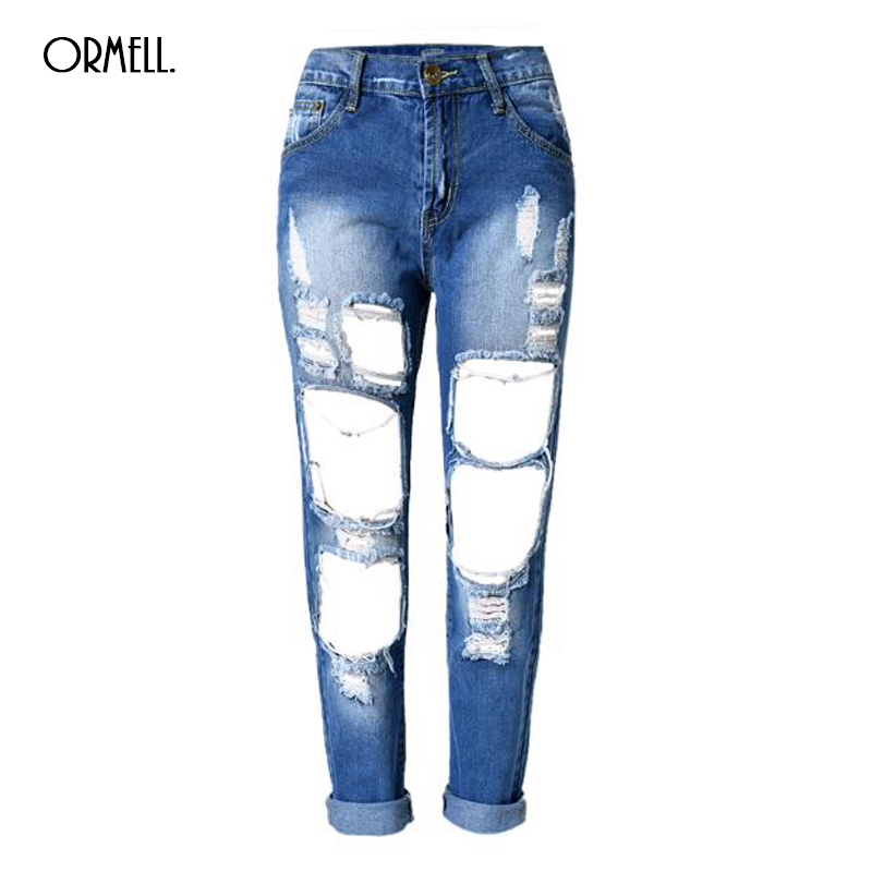 Free Shipping 2017 New Loose Vintage Mid Waist Jeans New Womens Pants Ankle Length Big Hole Pants Boyfriend Cowboy PantsОдежда и ак�е��уары<br><br><br>Aliexpress