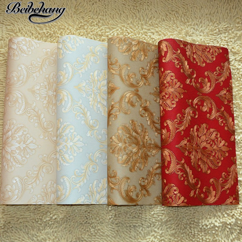 beibehang Continental Damascus bedroom living room dining room TV bedside sofa background wallpaper scrub red new wallpaper<br>