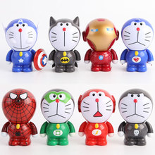 Anime The Avengers2 Doraemon Cos Iron Man Flash Green Lantern PVC Action Figure Toys Dolls 6cm KT1338