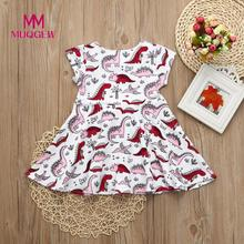 MUQGEW Dress For Girls Toddler Kids Baby Girls Cartoon Dinosaur Print Sun Dress Clothes Outfits New Spring Short Sleeve dress(China)