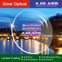 High Quality Radiation Protection Index 1.56 Clear Optical Single Vision Lens HMC, EMI Aspheric Anti-UV Prescription Lenses,2Pcs