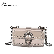 2018 new wave pearl rhinestone small square bag wild patent leather diagonal package Korean portable shoulder bag(China)