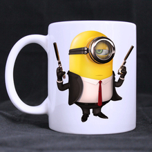 Minions Gun mug porcelain Coffee Mugs cups ceramic tea cup home decal White Cups gifts beer cup(China)