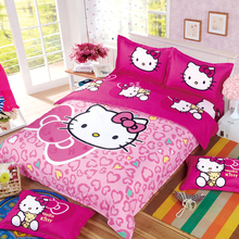 XINLANISNOW Polyester Cotton reactive printed Hello Kitty bedding set full queen queen size bed coverlet set 3/4 pcs For Girls