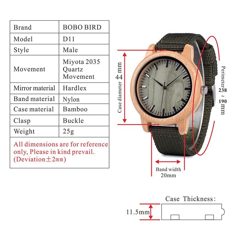 Drewniany zegarek Bobo Bird style Green D11 parametry