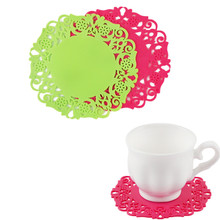 Delidge 4 pcs/set Hollow Lace Table Mat Round Shape Silicone Heat Resistant Table Pad Cup Coffee Coaster Cushion Placemat Pad(China)