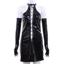 Hot Sale Sexy Women Lingerie Patent Leather Lace-up Mini Dress with G-string Gloves for Party Club Leather Nightdress Sexy dress(China)